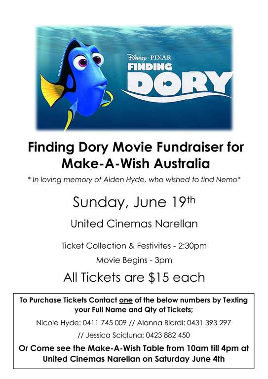 Finding Dory Movie Fundraiser for Make-A-Wish Flyer